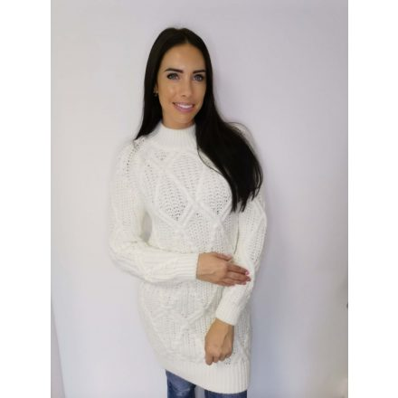 WINTER THICK KNITTED TUNIC - WHITE (ONE SIZE)