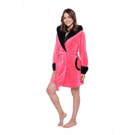 POPPY GIRL EMBROIDERED ROBE - PINK/BLACK (XS)