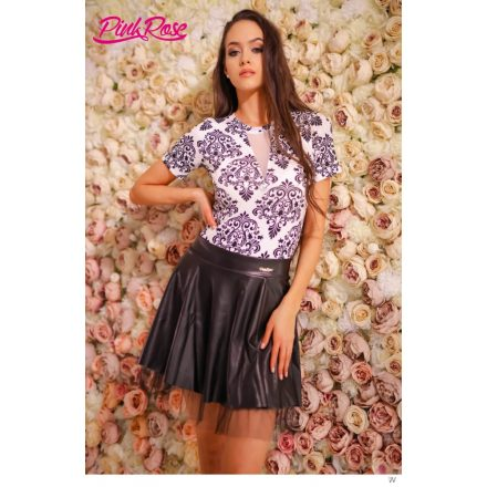 Fashion Nicole Shop - PINK ROSE BODY - FEKETE/FEHÉR (ONE SIZE)